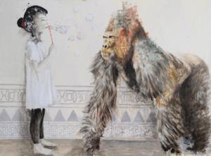 alessandro_little_girl_playng_with_gorilla_con_gorilla_125x170-cm_tecnica-mista-su-tavola_2019_web